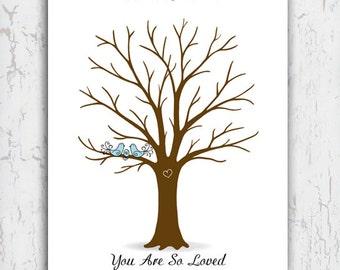 Thumbprint Tree Poster, Baby Shower Fingerprint Tree, Blue Birds, Welcome  Little One You