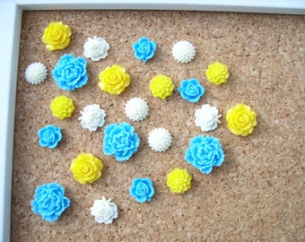 Cubicle Decor, Decorative Push Pins or Magnets, Blue, Yellow, and White, Fridge Magnets, Desk Accessories, Bulletin Board Tacks