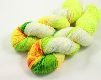 Sour, sock yarn, speckled yarn, hand dyed yarn, speckled sock yarn, colorful yarn, indie dyed yarn, knitter gift, indie dyed yarn