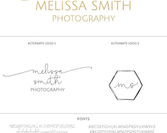 Photography Logo Branding Set - Premade Logo Design - Stamp Calligraphy Logo Watermark - Signature Logo - s121