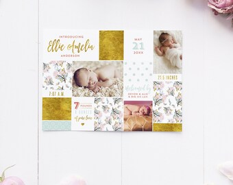 Floral Birth Announcements - Boho Newborn Stats Collage Announcement Cards - Printable DIY