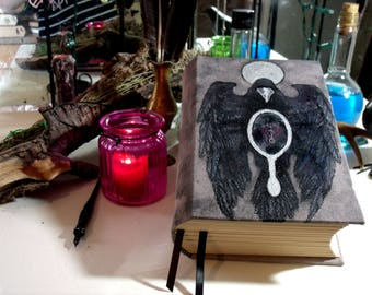 Raven's Mirror 500 Page Blank Book of Shadows, 6x9 Hand Painted Draumstafir Journal