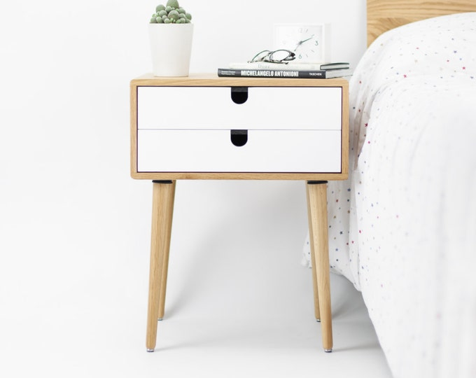 Oak wood white bedside table, nightstand , Mid Century Modern, Retro Scandinavian, 2 drawers