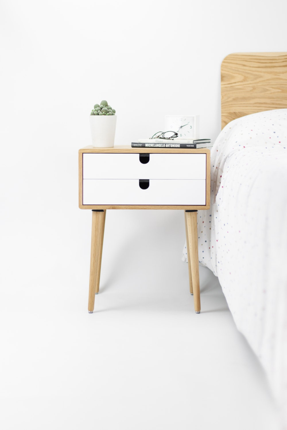 Oak wood white bedside table nightstand Mid Century Modern