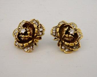 Vintage Earrings - Goldette - Rose and Rhinestone