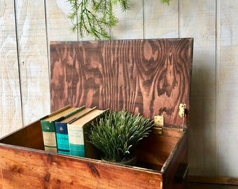 Vintage Rustic Style Wooden Box, Wooden Storage Box,