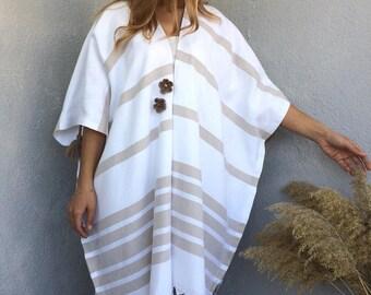 Boho Kimono Cardigan, Beach Kimono Kaftan, Open Oversize Cardigan, Cotton Summer Jacket, Natural Cardigan, Fringed Kimono, Beach Cover Up