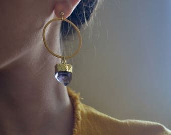 Amethyst gold hoops, amethyst point hoops, gold amethyst vermeil hoops