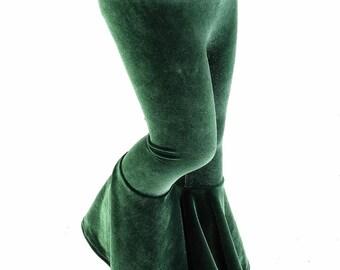 Kids Soft Forest Green Velvet Bell Bottom Flared Pants Sizes 2T 3T 4T and 5-12 - 153981
