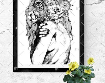 Flower of the Wild Untitled Black and White Glossy A6 Postcard