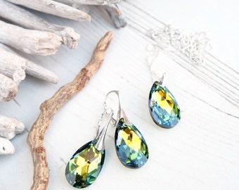 Sterling Silver Swarovski Earrings Necklace Set-Swarovski Crystal Jewelry-Multi Tone Sahara Green-Bridesmaids Teardrop Dangle Drop Earrings