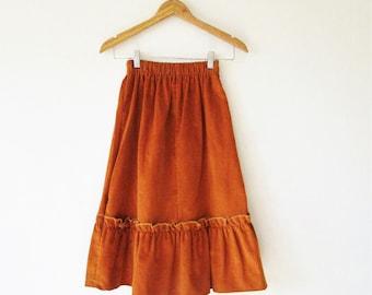 Girls Vintage 1970s Burnt Orange Corduroy Maxi Skirt Sz 6T