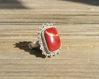 Vintage Sterling Silver Mookaite Agate Ring sz 7