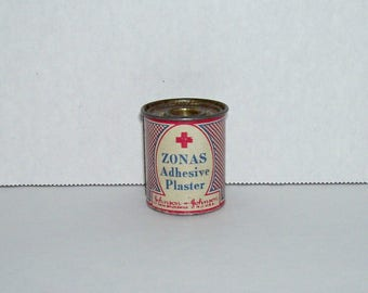 Vintage Johnson and Johnson Miniature Zonas Adhesive Plaster Tin