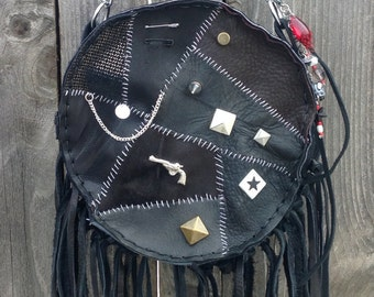 punk monster black leather purse fringe studs spiked chain edgy concert Frankenstein stitches
