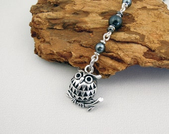 Owl Fan Pull Chain, 3-D Charm, Dark Grey and Silver Tone Beaded Ceiling Fan or Light Cord Pull, Modern Home Decor Lighting, Bird Decoration