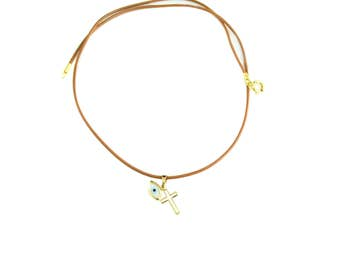 14K Greek Eye & Cross Necklace. 14K Solid Yellow Gold. Mother of Pearls Greek Eye. Good Luck and Protection Charms.