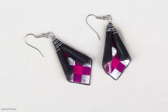 Metal and Leather Dangle Earrings
