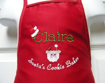 Personalized Embroidered Kids Christmas Cookie Baking Apron-Santa Claus