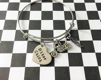 Motorcycle Bracelet - Motorcycle Gifts - Biker Chick Bracelet - Gift for Biker - Motorcycle Jewelry - Gift for Her - Biker Babe - Motorcycle