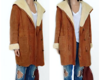 Hooded Shearling Suede Jacket// Coat//  shawl collar and cuffs,Sheepskin coat   // small/medium hippie//boho