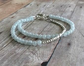 Genuine Aquamarine Bracelet / March Birthstone Jewelry / Blue Gemstone Bracelet / Hill Tribe Silver Bead Jewelry