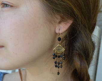 Bohemian Earrings, Chandelier Earrings, Czech Glass Earrings, Black Earrings, Long Beaded Earrings, Boho, Bohemian Jewelry, Black Chandelier