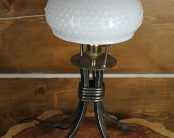Polished Wrought Iron Lamp with Vintage Hobnail Glass Shade