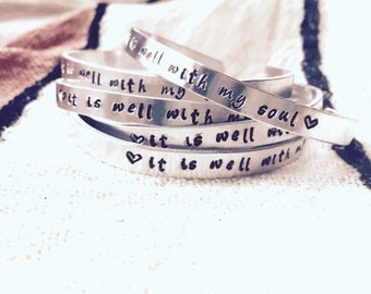 Handstamped Bible Verse Bracelet, It Is Well With My Soul, Inspirational Bangle, Gift for Her, Scripture Bracelet, Layering Skinny Bangles