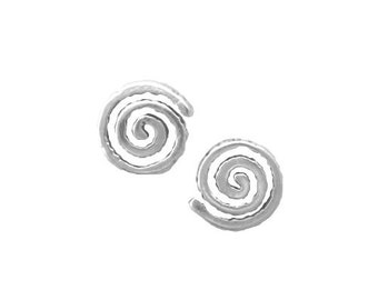 SPIRAL Earrings .925 Sterling Silver Native American Indian Post Stud - se1727