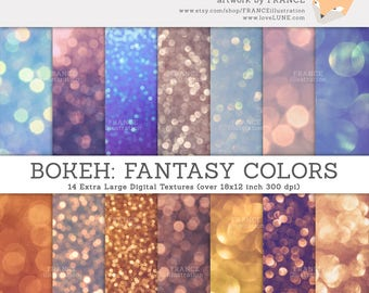 GET 3 FOR 2. Bokeh Overlay Photos. Real Photographs of Bokeh Glitter Paper. Ombre Gold Silver Blue Background Textures, DIY Craft Supply.