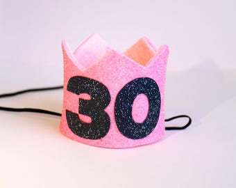 CUSTOMIZABLE 21 30 40 50 Pink Gold Silver Glitter MINI Birthday Party Crown Headband w/ Black Glitter Number Adult Baby Pet Dog Cat