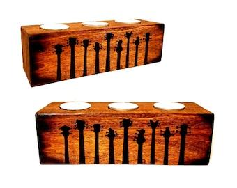 Wood Tea Light Holder - Guitar necks - Musicians Gift - Custom available