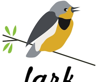 happy as a lark woodland bird art print, lark bird wall art, bird wall decor, 8x10, yellow, black, grey