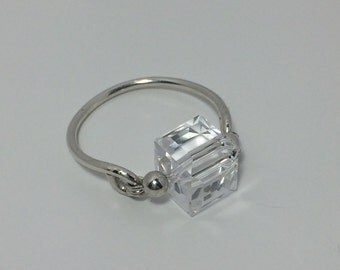 Crystal Clear Crystal Swarovski Crystal Ring ~ Wire Wrapped Ring ~ Wire Wrap Ring ~ Swarovski Ring ~ Sterling Silver Ring