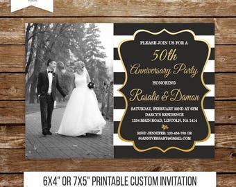 50 wedding anniversary invitation gold anniversary party 50th anniversary 40th black and white wedding surprise party invite printable 213