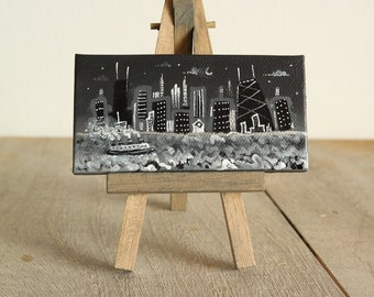 Chicago skyline,  mini painting,   on easel, hand painted, ooak, 2x4,  Smigielski, vintage style, boat, black and white, ship, Smigielski