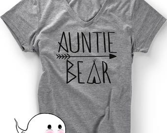 Gift for Aunt Auntie Bear T-Shirt T Shirt Tee  Mothers Day Womens Ladies Funny Sis Present Baby Shower Pregnancy Announcement Reveal Sister