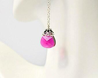 Crystal and sterling silver drop earrings, pink crystal earrings, swarovski earrings, modern earrings, elegant earrings, bridal jewelry