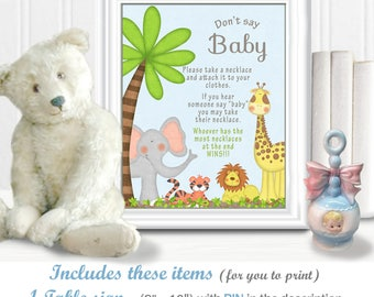 """DON'T SAY BABY game with 2 options - Pins and Necklaces - jungle/safari baby animals in a """"gender neutral"""" theme, diy Printable, 15BA"""