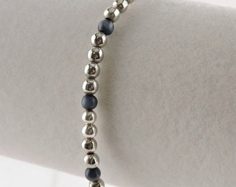 """Sterling Silver Dark Blue Cats Eye and Sterling Ball Toggle Bracelet 7 5/8"""""""