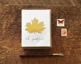 So Grateful, Maple Leaf, Boxed Set of 8 Letterpress Thank You Cards