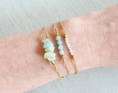 Amazonite beaded bar bracelet  Light green amazonite bracelet  Amazonite semiprecious gemstone bracelet  Amazonite bead bracelet