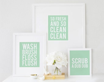 So Fresh and So Clean, Bathroom Art, Bathroom Print, So Fresh, So Clean, Wall Art Prints,Gallery Wall Set,Wash Brush Floss Flush,Scrub A Dub