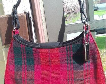 Coach Red Plaid Wool Flannel Handbag