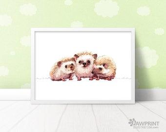 Triplets nursery art hedgehog print - gift for Triplets Brothers Sisters, woodland nursery animal art, forest nursery decor woodland animals