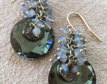 Swarovski crystal disk earrings