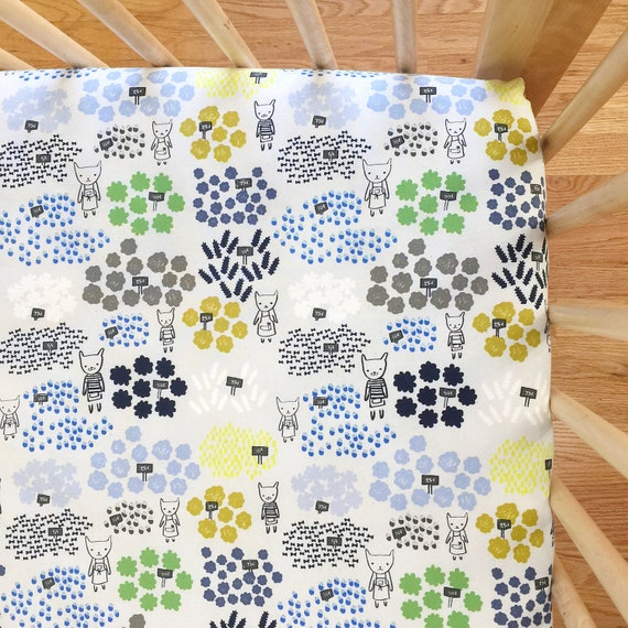 Crib Sheet in Flower Shop Flowers for Sale in Blue - MADE-to-ORDER - blue bassinet, floral mini crib, animal garden crib bedding, toddler