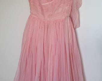 Vintage 50s Prom Dress - Frothy Bubblegum Pink, Extra Small