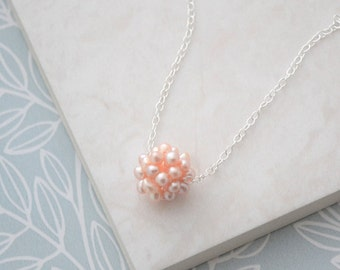 Peach Freshwater Pearl Cluster Necklace, Sterling Silver Pearl Bridesmaid Necklace
